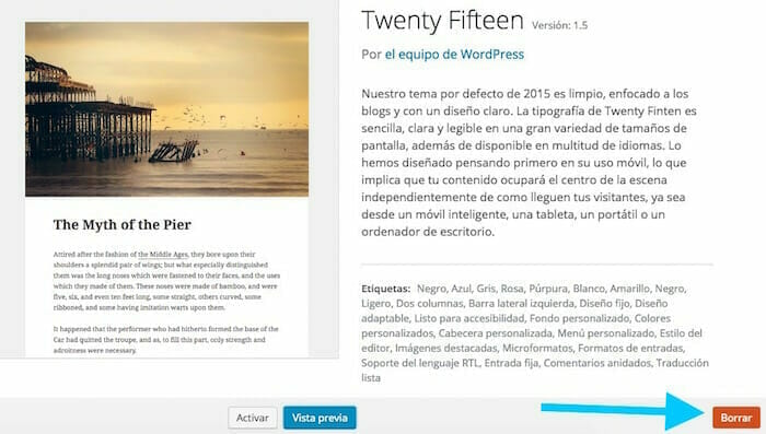 eliminar tema wordpress