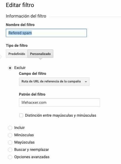 filtro personalizado google analytics